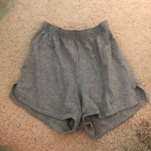 Gray small soffe shorts// nothing on them